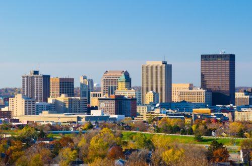 Dayton, Ohio downtown skyline, view taken during Autumn.