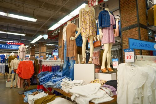 NEW YORK - MARCH 18, 2016: inside of Old Navy store in New York. Old Navy is an American clothing and accessories retailer owned by American multinational corporation Gap Inc.