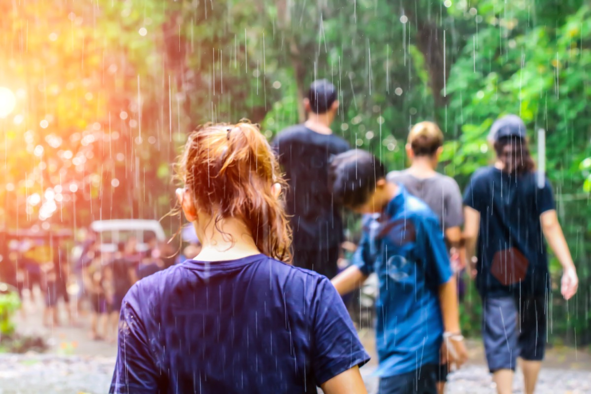kids or young adults outside in the rain