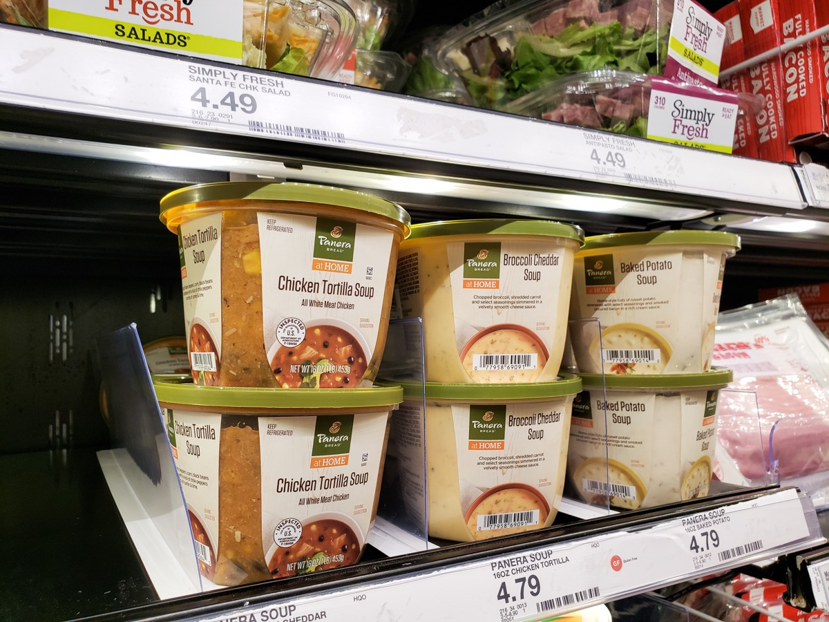 containers of panera at home soup on supermarket shelf