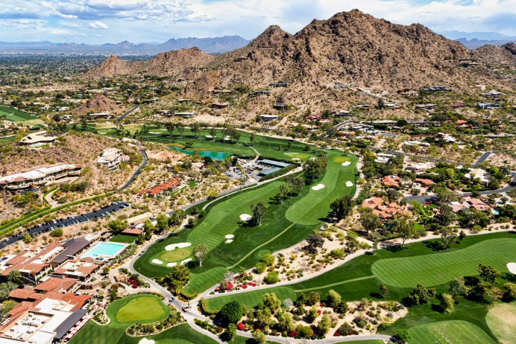 aeriel view of a golf course and resort in Paradise Valley, Arizona