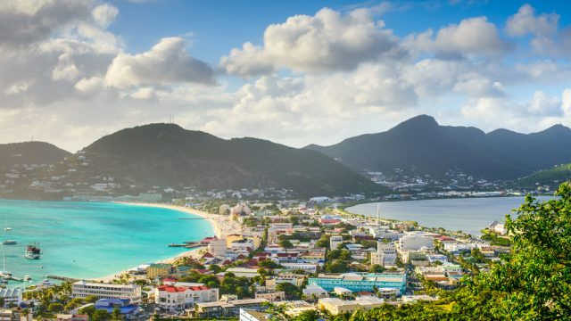An aerial view of Philipsburg, St. Martin in the Caribbean