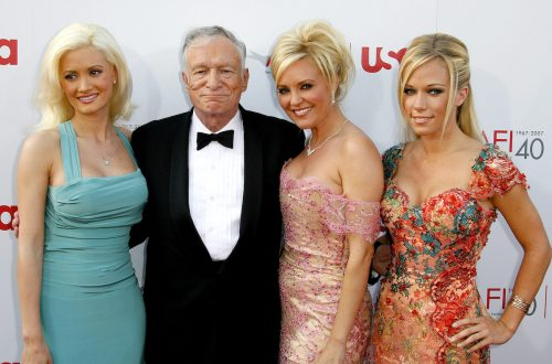Holly Madison, Hugh Hefner, Bridget Marquardt and Kendra Wilkinson attend the 35th Annual AFI Life Achievement Award in 2007