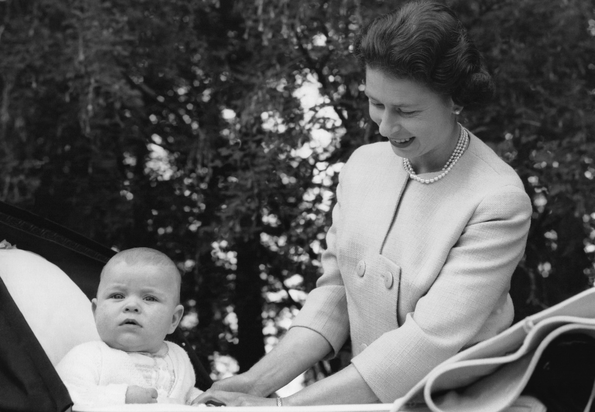 Queen Elizabeth and Prince Andrew at Balmoral in 1960