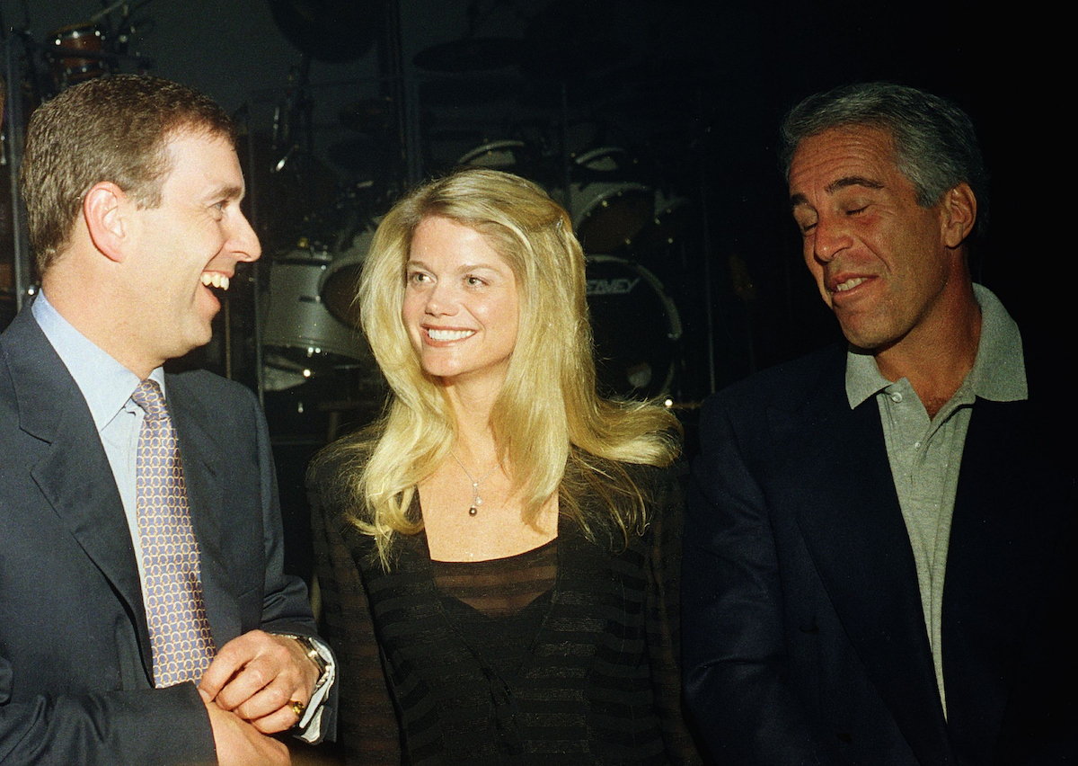 Prince Andrew and Jeffrey Epstein at a party at the Mar-a-Lago club, Palm Beach, Florida, February 12, 2000.