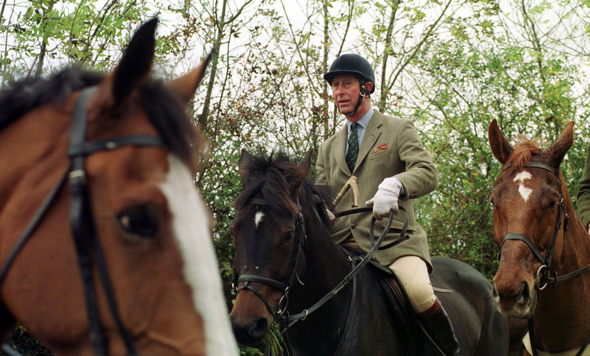 Prince Charles on the Beaufort Hunt on the first day of the new foxhunting season at Shipton Moyne.