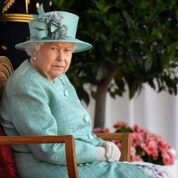 Queen Elizabeth II attends a ceremony to mark her official birthday at Windsor Castle on June 13, 2020 in Windsor, England.