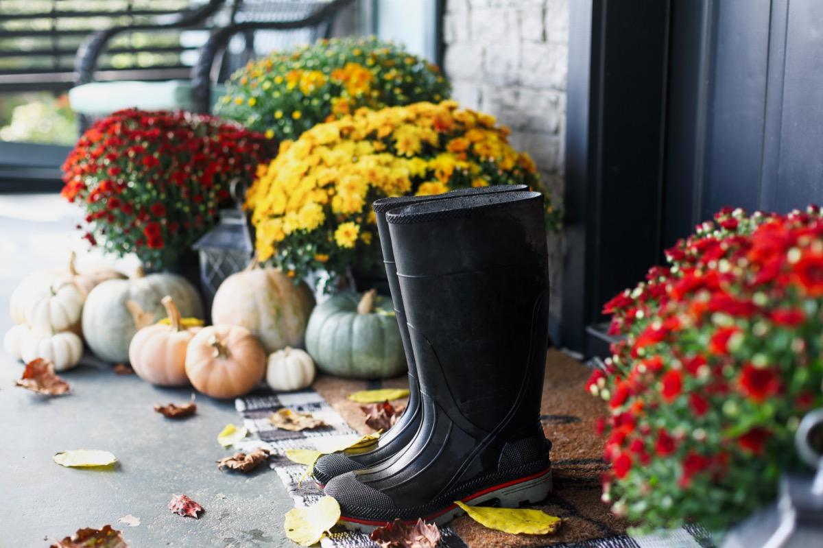 black rain boots stored outside