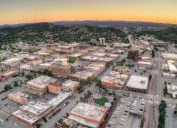 An aerial view of Rapid City, South Dakota at sunset