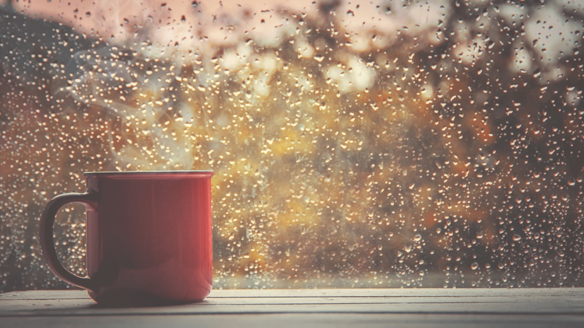 red mug in front of window with rain on it