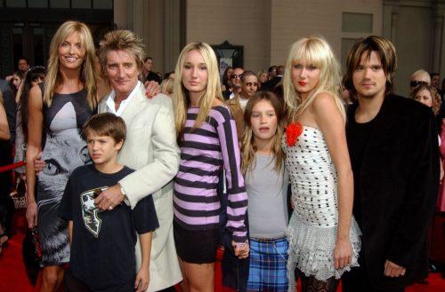 Penny Lancaster, Rod Stewart, Liam Stewart, Ruby Stewart, Renee Stewart, Kimberley Stewart and Sean Stewart in 2003