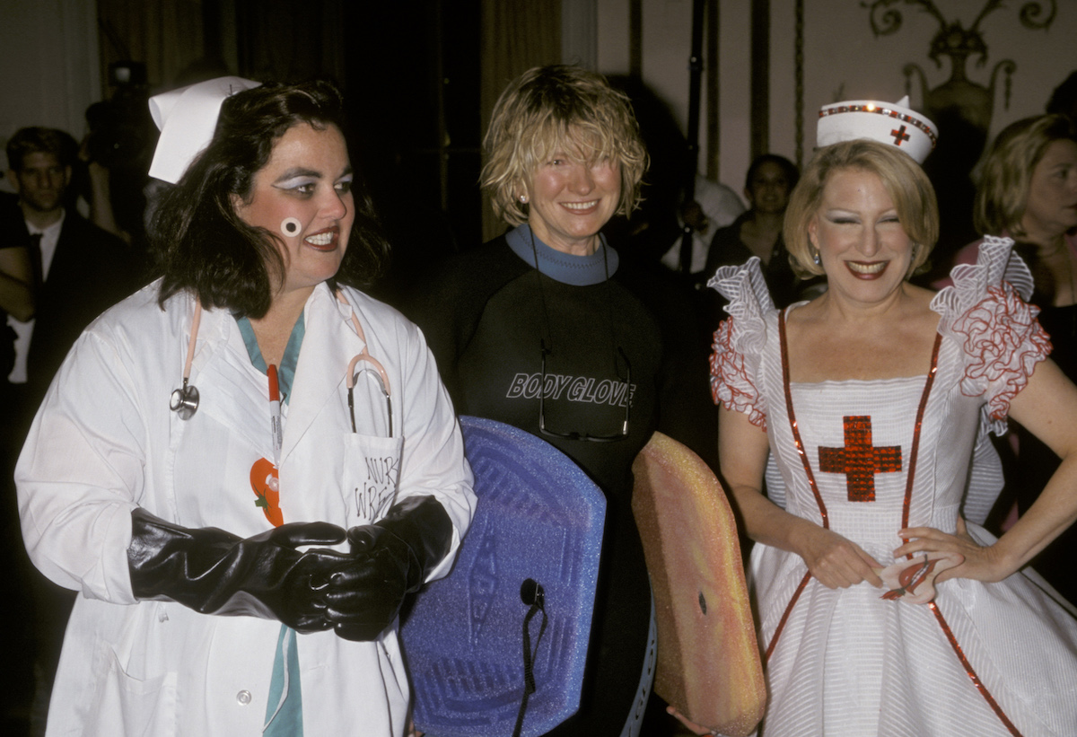 Rosie O'Donnell, Martha Stewart, and Bette Midler at a Halloween party in 1998