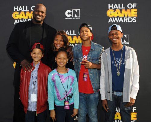 Shaquille O'Neal, Taahirah O'Neal, Me'arah O'Neal, Shaqir O'Neal, and Myles O'Neal in 2013