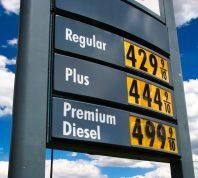 High gas prices on sign