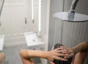 Person taking a shower