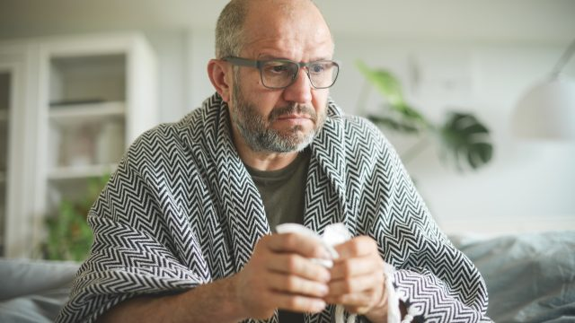 mature adult man in the room