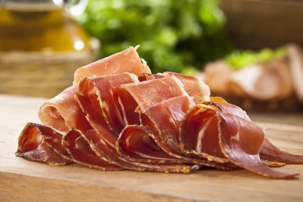 Sliced Italian Prosciutto on Wood Cutting Board