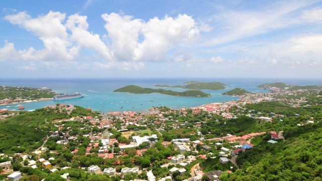 An aerial photograph of Charlotte Amelie in St. Thomas, U.S. Virgin Islands