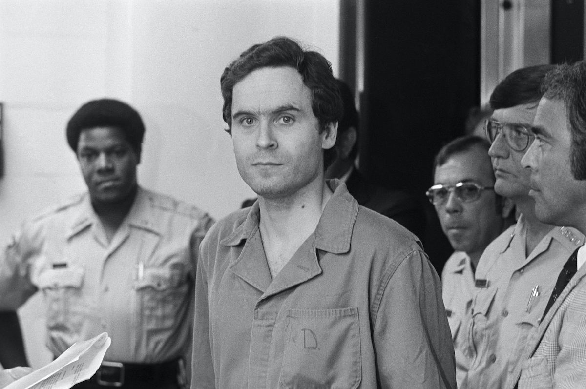 Serial killer Theodore Bundy, charged with the killings of FSU coeds Margaret Bowman and Lisa Levy who were beaten and strangled at the Chi Omega House in January, is shown in this photograph.
