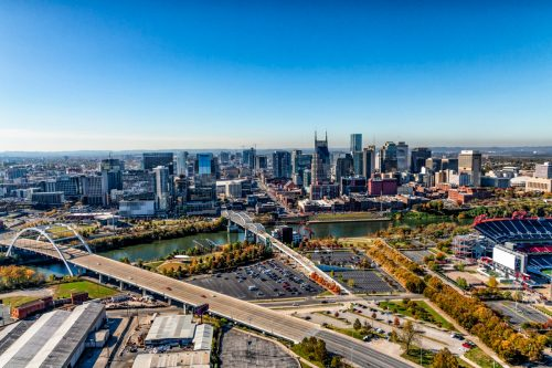 """The skyline of beautiful Nashville, Tennessee, known as """"Music City"""" along the banks of the Cumberland River."""