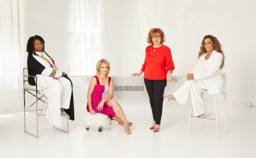 """The View"" season 25 hosts Whoopi Goldberg, Sara Haines, Joy Behar, and Sunny Hostin"