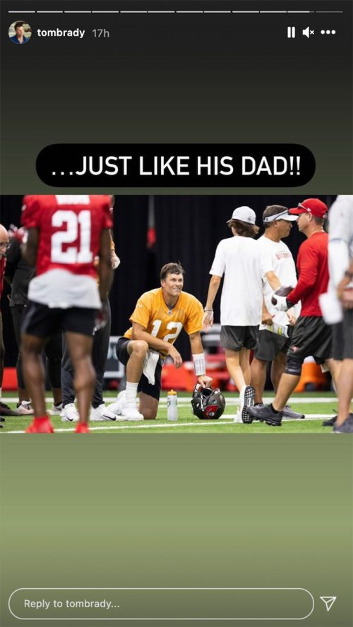 Tom Brady and his son Jack at Buccaneers training camp