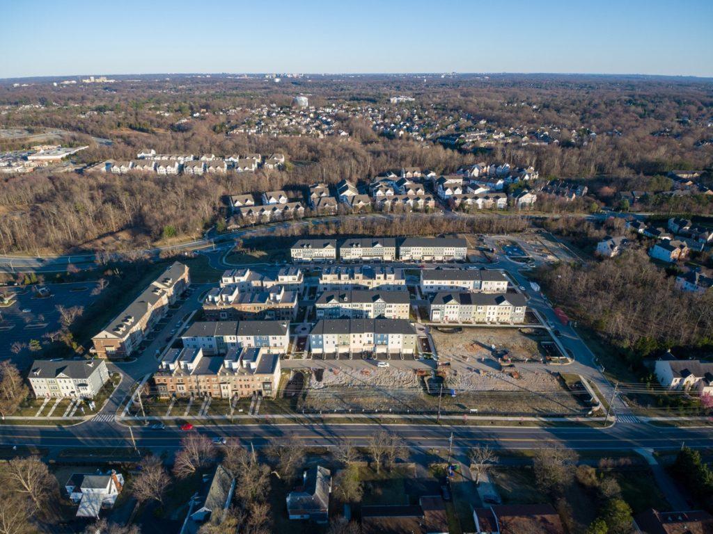 Aerial view of Travilah neighborhood in Montgomery County, Maryland