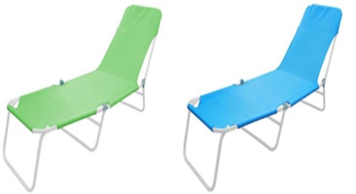 one blue one green lounge chair on white background