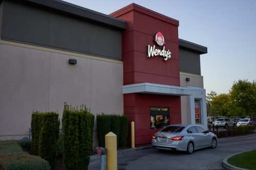 Wendy's drive thru with car