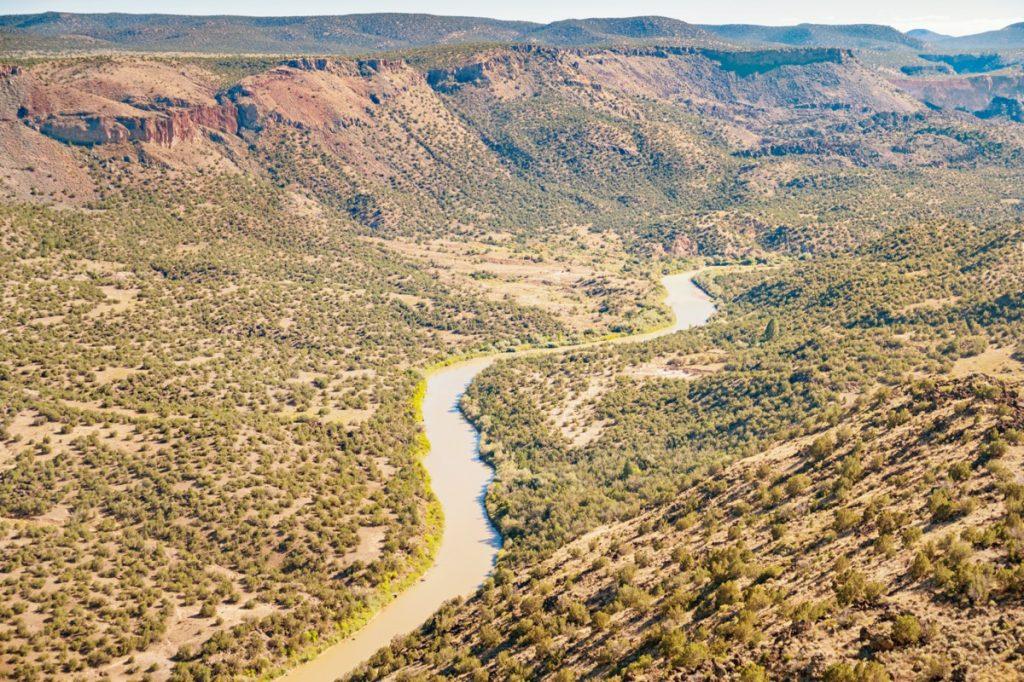 Rio Grande river and mountains in White Rock, New Mexico