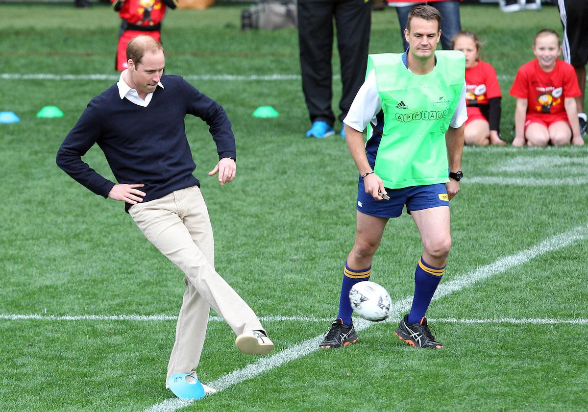 Prince William, Duke of Cambridge kicks off a game of rippa rugby at Forsyth Barr Stadium, Dunedin on April 13, 2014 in Dunedin, New Zealand.