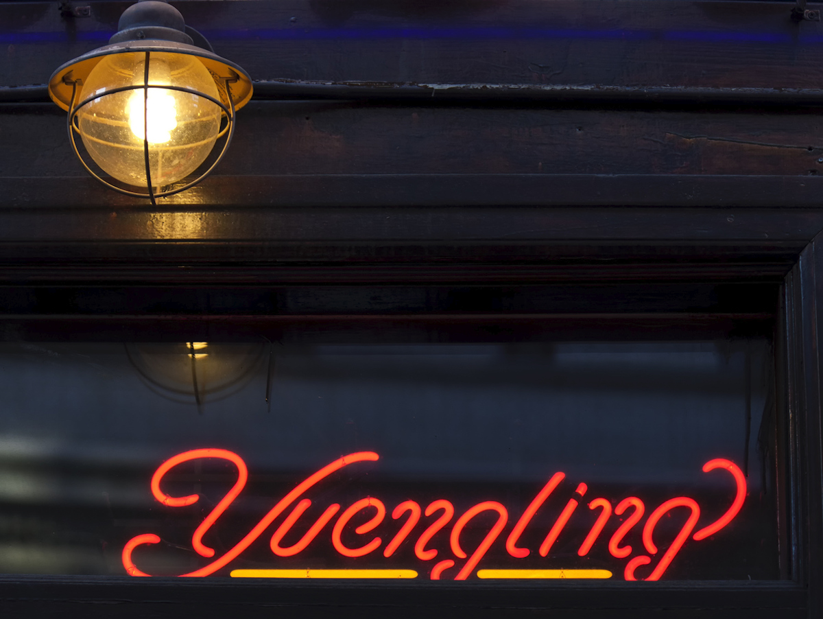 Yuengling Beer Neon Logo in the window of an old New York City Tavern located in Greenwich Village.