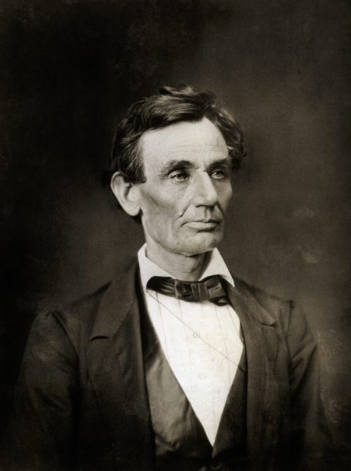A photograph of Abraham Lincoln from 1860 or 1861