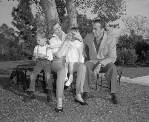 Lauren Bacall, Humphrey Bogart, and their two children, Stephen and Leslie, in 1955