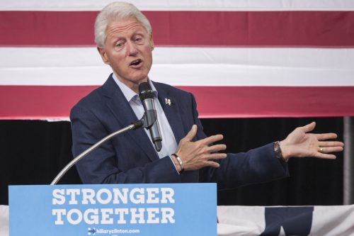 Bill Clinton campaigning for Hillary Clinton in October 2016