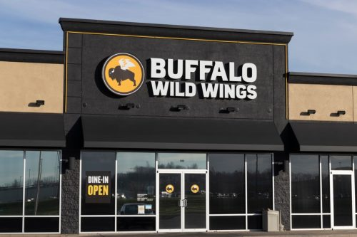 Th exterior of a Buffalo Wild Wings restaurant