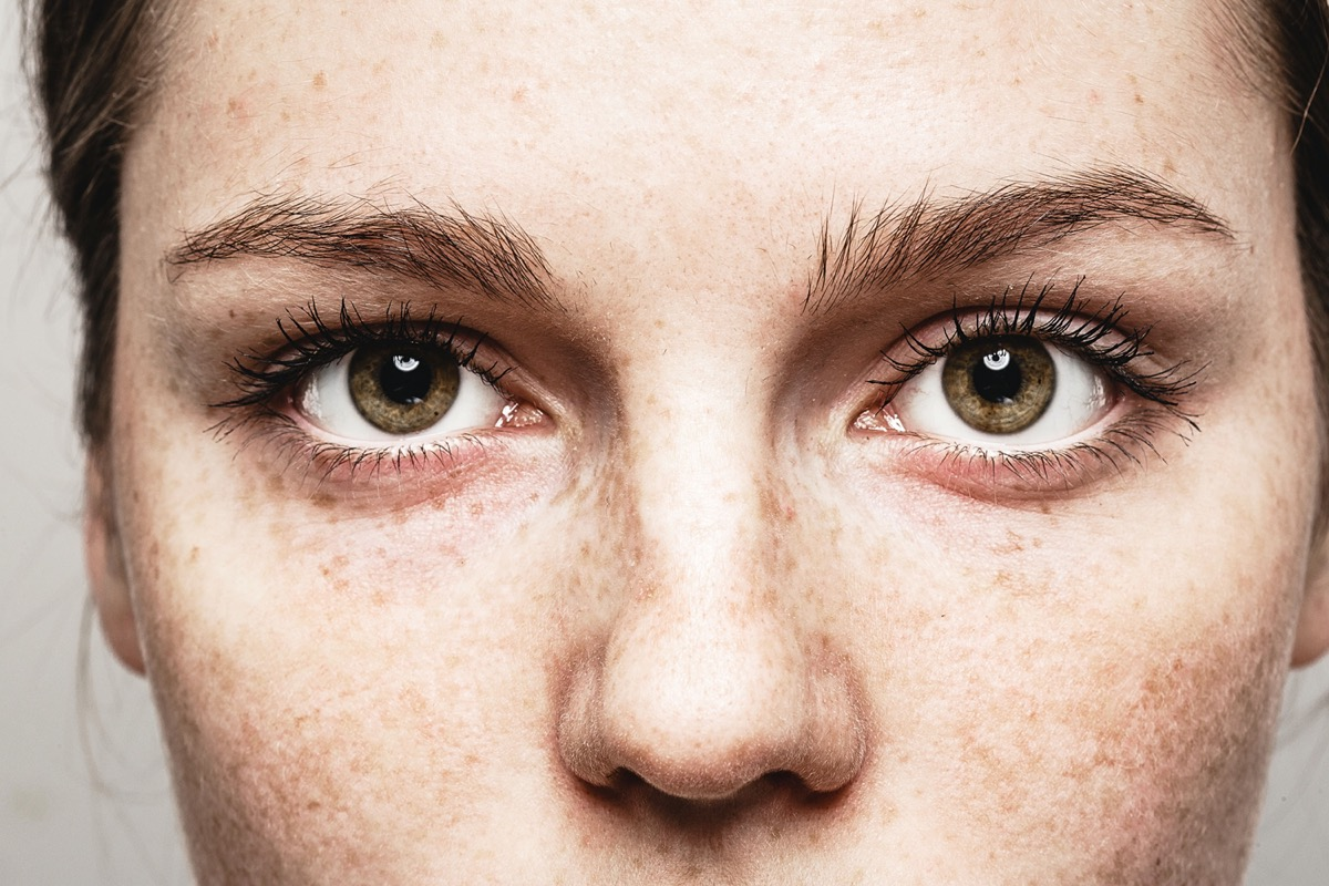 Closeup of woman with brown eyes