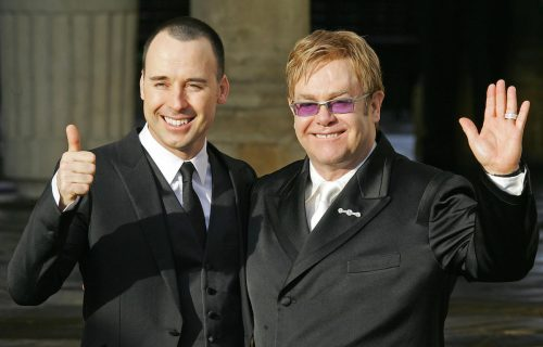 David Furnish and Elton John at the their civil ceremony in December 2005
