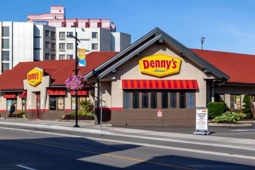 The exterior of a Denny's restaurant