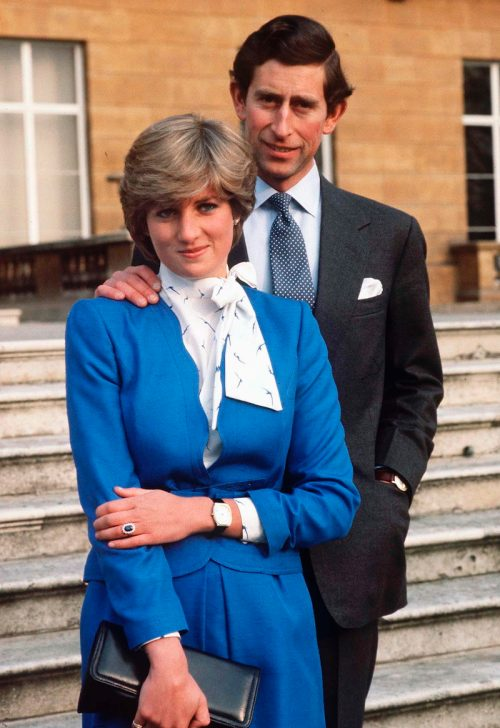 Lady Diana Spencer and Prince Charles announcing their engagement in February 1981