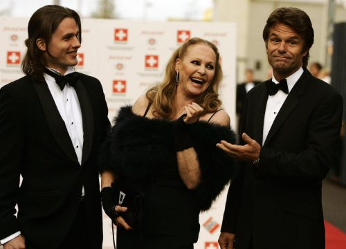 Dimitri Hamlin, Ursula Andress, and Harry Hamlin at Ursula's 70th birthday party in May 2006