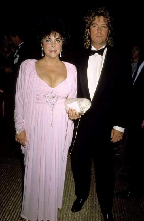 Elizabeth Taylor and Larry Fortensky at the 1990 Carousel of Hope Ball