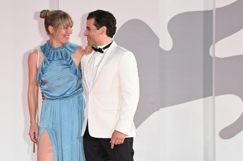 """Elvira Lind and Oscar Isaac at the premiere of """"The Card Counter"""" at the Venice Film Festival on September 2, 2021"""