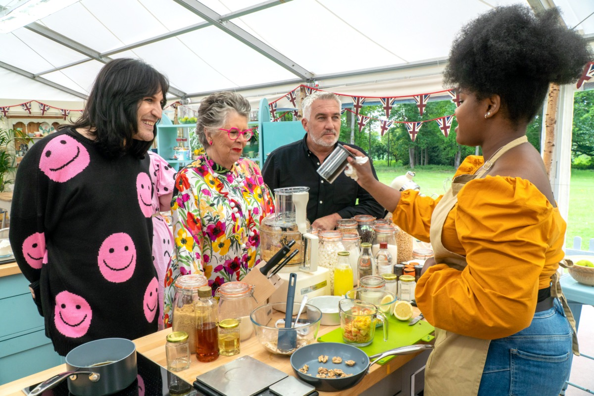 Noel Fielding, Prue Leith, Paul Hollywood and contestant Rochica on The Great British Baking Show