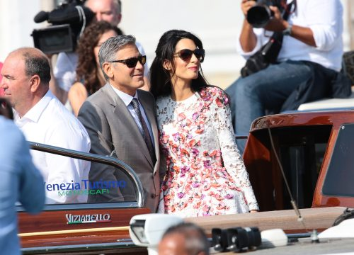 George Clooney and Amal Alamuddin the day after their wedding in Venice, Italy in September 2014