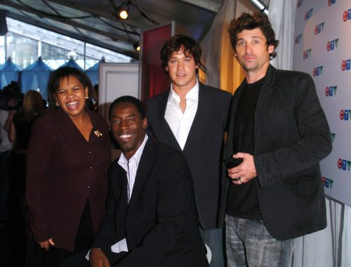 Chandra Wilson, Isaiah Washington, T.R. Knight, and Patrick Dempsey at Metro Hall Square in Toronto in June 2005