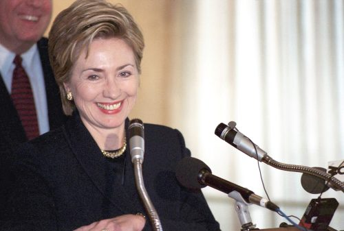 Hillary Clinton speaking in Flushing, New York in 1998