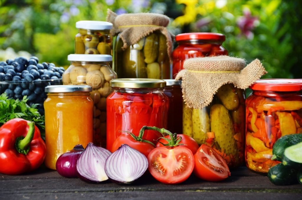 Homemade canned food in jars