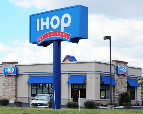 the exterior of an IHOP restaurant