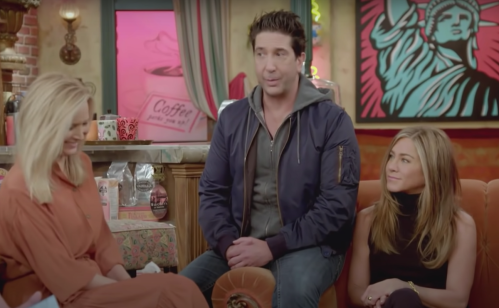 Lisa Kudrow, David Schwimmer, and Jennifer Aniston being interviewed by James Corden in 2021